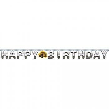 Guirlande lettres Happy Birthday Attention Chantier !