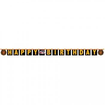 Guirlande lettres Happy Birthday Pompier Rescousse