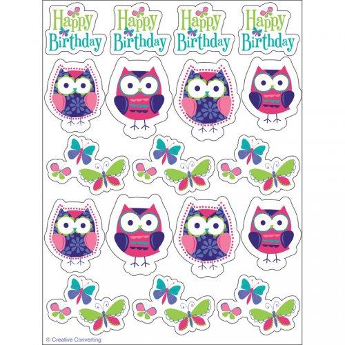 4 Planches de stickers Hiboux
