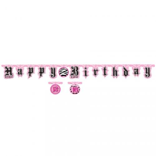Guirlande lettres Happy Birthday Girly Fashion