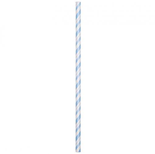 24 Pailles Papier Vintage Bleu ciel