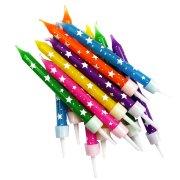 12 Bougies Etoiles Multicolores
