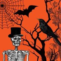 Contient : 1 x 18 Serviettes Squelette Chic