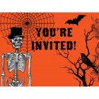 8 Invitations Squelette Chic