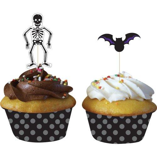 Kit 12 Caissettes et Déco à Cupcakes Squelette et Chauve-souris