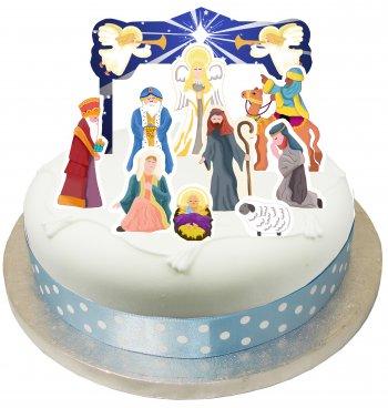 Set 10 Décors de gâteau Crêche de Noël