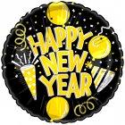 Ballon mylar Happy New Year Or/Noir