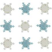 9 Flocons de Neige en sucre Blanc/Bleu