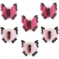 6 Petits Papillons Rose/Fuschia (2,5 cm) - Sucre