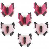 6 Papillons Rose/Fuschia en sucre