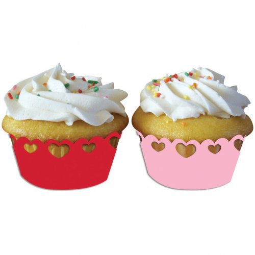 12 Wrappers Cupcake Coeurs Rose/Rouge