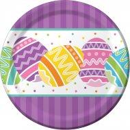 8 Petites Assiettes Oeufs de Pâques Colorés