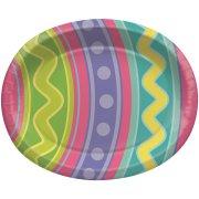 8 Grandes Assiettes Oeufs de Pâques colorés
