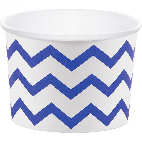 6 Pots à bonbons Chevrons Bleu/Blanc