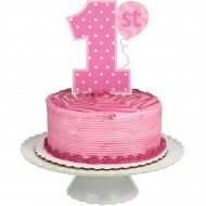 Décor à Gâteau 1 an Rose à pois