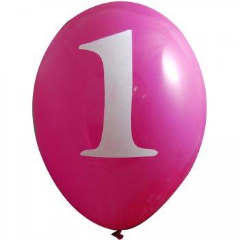 6 Ballons 1 an Rose