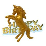 Figurine Licorne Happy Birthday - Gold