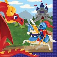 18 Serviettes Dragon et Chevalier