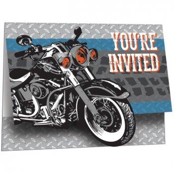 8 Invitations Moto Bikers