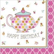 16 Serviettes Tea Time Happy Birthday