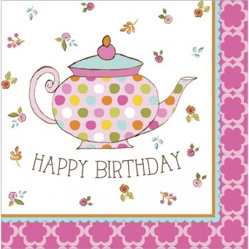 16 Serviettes Tea Time Happy Birthday