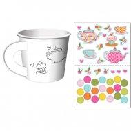 6 Tasses avec Stickers Tea Time