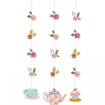 3 Décorations à Suspendre Tea Time
