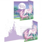 8 Invitations Licorne Féerique