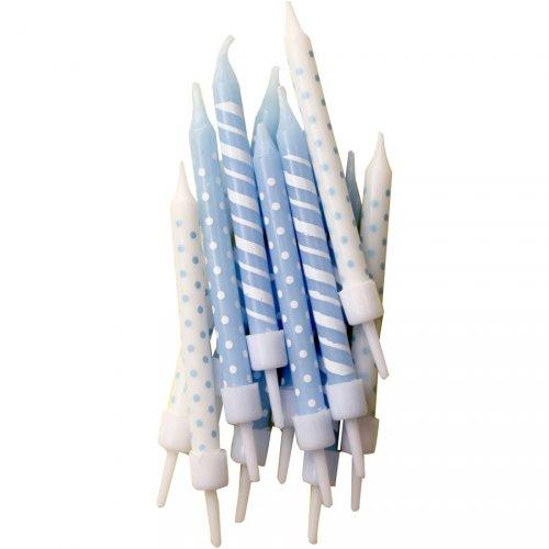 12 Bougies pois et rayures Bleu/blanc
