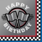 16 Serviettes Happy Birthday Speed Racing
