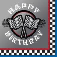 16 Serviettes Happy Birthday Speed Racing
