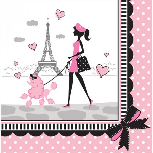 18 Serviettes Paris Chic