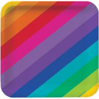 Contient : 1 x 8 Assiettes Rainbow Fun