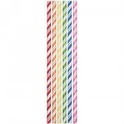 24 Pailles Papier Rainbow Vintage