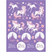 4 Planches de Stickers Licorne Féerique