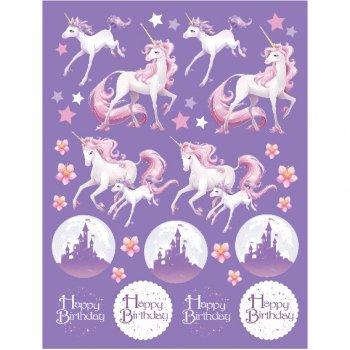 4 Planches de Stickers Licorne Féerique