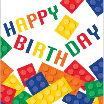 16 Serviettes Block Party Happy Birthay