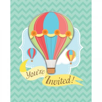8 Invitations Montgolfière