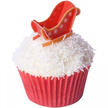 6 Décors Alimentaires à Cupcakes Traineau de Noël