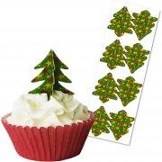 12 Décors Alimentaires à Cupcakes Sapin de Noël