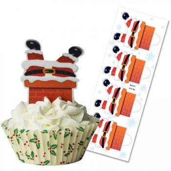 12 Décors Alimentaires à Cupcakes Père Noël Fun
