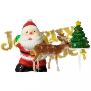Set 4 Décors Joyeux Noël (plastique)