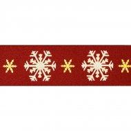Ruban Flocons de Neige Rouge (satin)