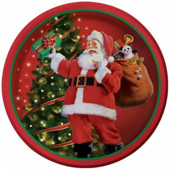 8 Petites Assiettes Père Noël et sa Hotte