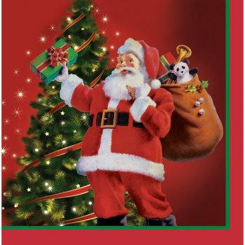 16 Serviettes Père Noël et sa Hotte