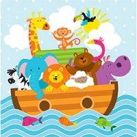 Contient : 1 x 2 Serviettes Les animaux de Noé