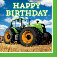 16 Serviettes Happy Birthday Big Tracteur