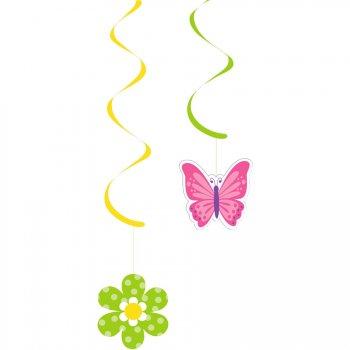 5 Décorations à suspendre Fleurs et Papillons