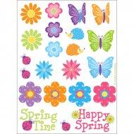 88 stickers Fleurs et Papillons Happy Spring