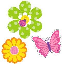 3 Grandes Décorations Fleurs et Papillons